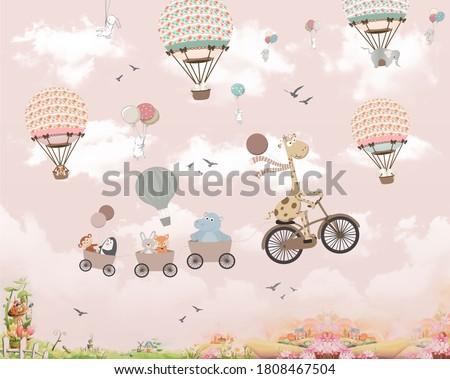 Wallpaper for kids, animals on baloon Сток-фото ©