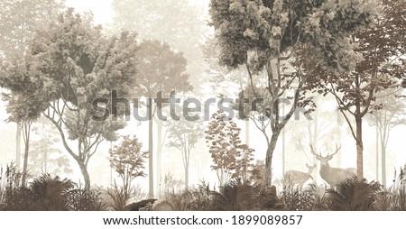 wallpaper forest mural nature animal