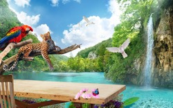 Wallpaper Nature Work Space Sky Forest Waterfall background