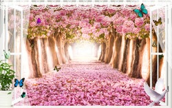 Wallpaper of a wonderful mural of pink leaves
