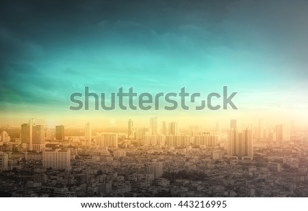 Wallpaper of cityscape concept: Big city skyline with urban skyscrapers at sunset background.