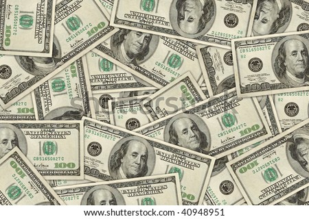 wallpaper of 100 dollar bills randomly placed. high resolution.