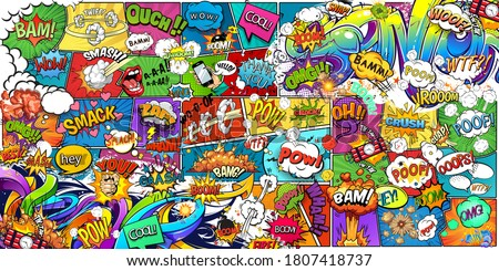 Wallpaper, photowallpaper, mural, card, postcard design in pin-up style for a children's or teenagers. A wall of bright, colorful drawn comics and graffiti. Foto d'archivio ©