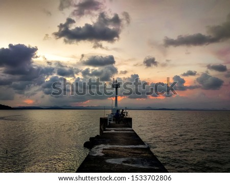Wallpaper Pier Bridge.  The pier surrounded by the sea.  Evening atmosphere at the dam.  A long pathway with concrete floors between the sea #1533702806
