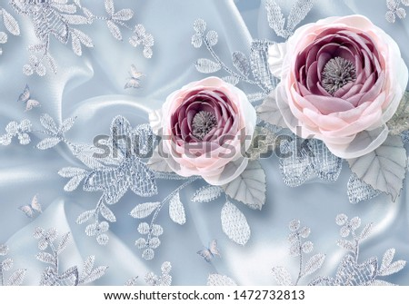 Wallpaper 3rd Cloth Flowers Red Beautiful  Decor in Home