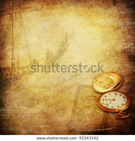 wallpaper with sailing ship, a pocket watch, an old photo of a seaman and a open book