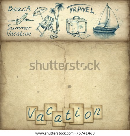 Wallpaper with vacation text and illustrations