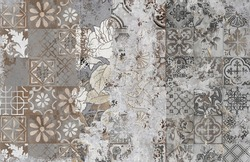 Wallpapers with Mediterranean tiles - patina wall