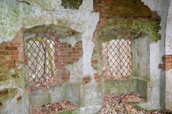 walls inside a ruined Church, abandoned Church of the assumption, salenka tract, Kostroma region, Russia
