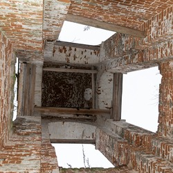 walls inside the bell tower of an abandoned Church