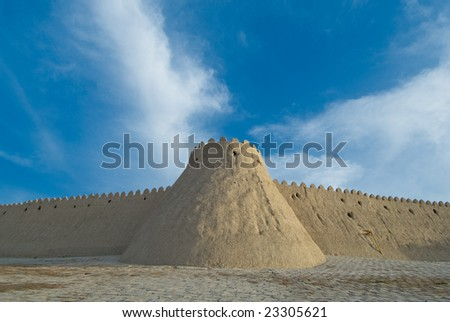 Walls of an ancient city of Khiva, Uzbekistan