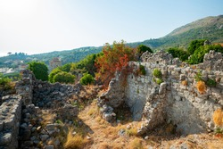 walls of ancient fortress in the mountain