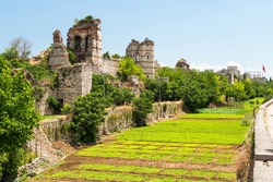 Walls of Constantinople in summer, Istanbul, Turkey. It is a famous landmark of city. Panorama of the overgrown ruins of ancient Constantinople's walls. Scenic view of remains of the Byzantine Empire.