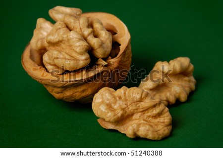 Walnut closeup isolated on green background food still life