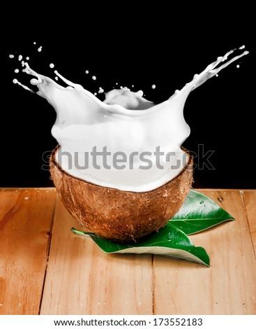 walnut coconut milk on wood