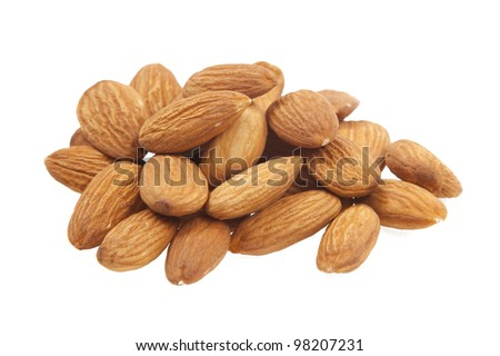 walnuts almonds on a white background