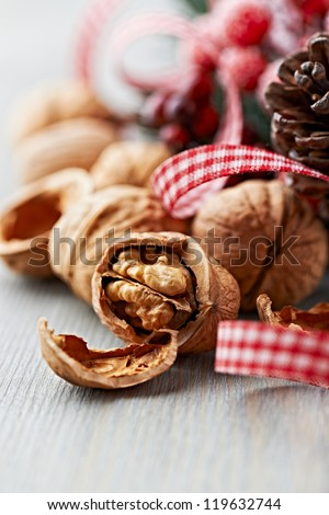 Walnuts and rustic christmas decoration