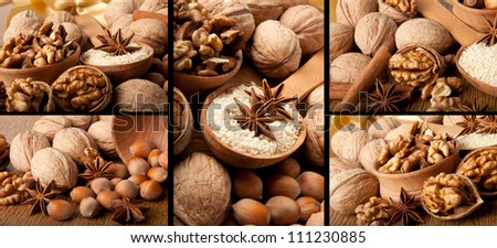 Walnuts and spices collage