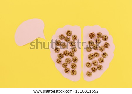 Walnuts as healthy food for the brain. Walnut kernels in shape of human brains. Healthy food nutrition. Conceptual composition with copyspace