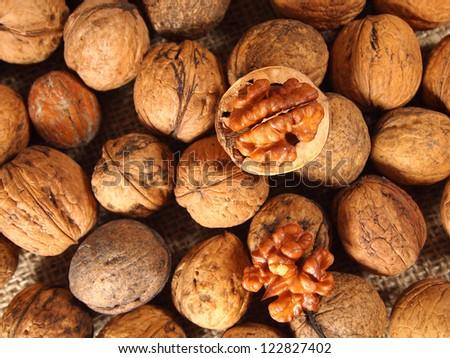 Walnuts close up on burlap