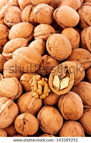 Walnuts.Closeup - stock photo
