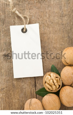 walnuts fruit on wood background texture