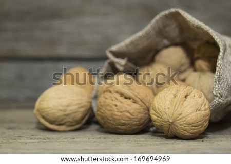 Walnuts in burlap bag on wooden background