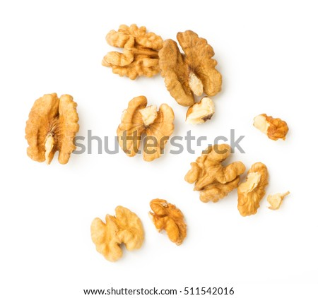 Walnuts kernel isolated on white background, Top view.
