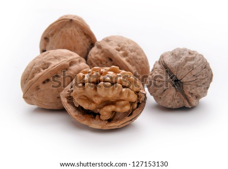 Walnuts over white backgroundg