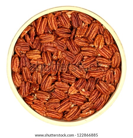walnuts, pecans, in a wooden bowl, isolated, white background