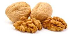 Walnuts with kernel, Nuts, isolated on white background.