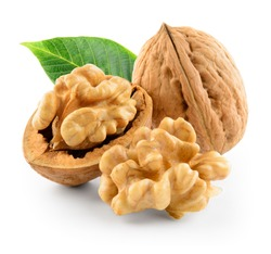 Walnuts with leaf isolated on white. With clipping path.