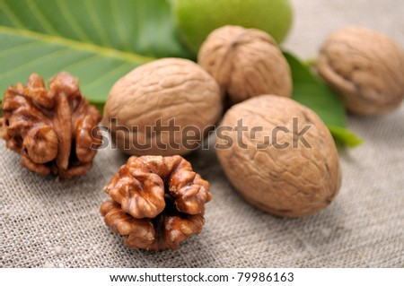 walnuts with leaves on a background of rough cloth