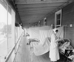 Walter Reed Hospital flu ward during the Spanish Flu epidemic of 1918-19, in Washington DC. The pandemic killed an estimated 25,000,000 persons throughout the world.