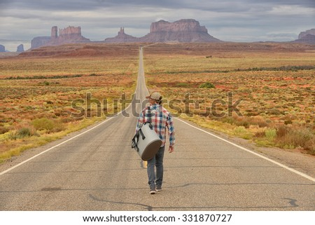 Shutterstock Wanderer or loner in Monument Valley walking down an empty road