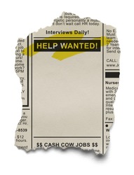 Want Ads for Job Search on Torn News Paper Isolated on White Background.