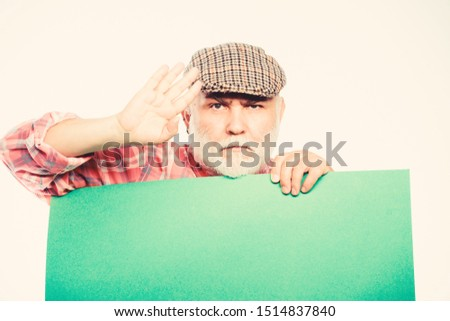 wanted. Copy space placate information. serious mature man in retro hat. Advertisement. Advertisement shop. job search. Need help. bearded man place announcement on banner. pointing your advertising. #1514837840
