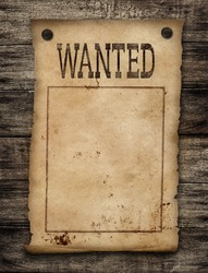 Wanted dead or live paper background. Wild west poster.
