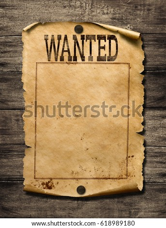 Wanted for reward poster 3d illustration Stockfoto ©