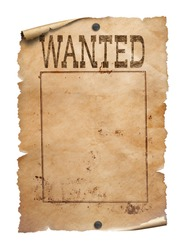 Wanted poster on white background