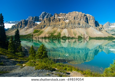 Waputik Ranges Reflection on Bow Lake, Banff, Rocky Mountain, Canada