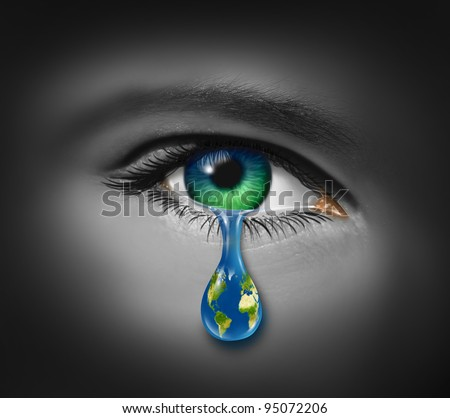 War and violence as a tear of a child and a planet earth as a reflection in the drop for pain and world conflict on victims of crime or sadness on the state of the natural environment and pollution. - stock photo
