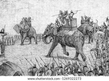 War elephant illustration, army of Carthage. Acrylic illustration.