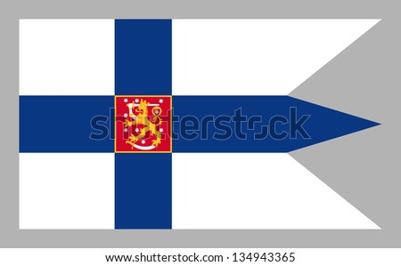 War flag and naval ensign with coat of arms of the state of the Republic of Finland. Isolated on gray background. Adopted 26 May 1978.
