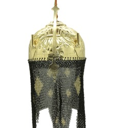 War helmet with gold head and chains attached