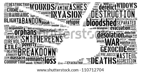 War image: text graphics - stock photo
