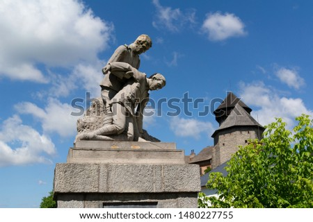 War memorial from world war two, Sovinec, Czech Republic / Czechia - historical monument to remember killed, wounded and fallen victims from military conflict