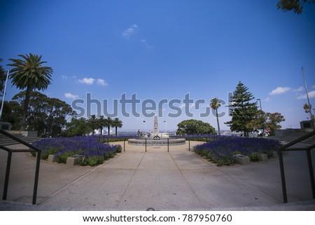 War memorial 6 November 1955 daylight time lapse at kings park botanic garden, Perth city Western of Australia #787950760