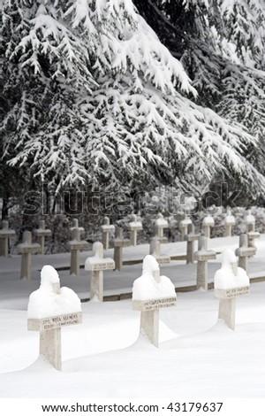 War Pole cemetery covered by snow. San Lazzaro, Bologna, Italy.