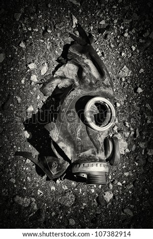 War Results. Black masks with broken glass. Black and white photo.